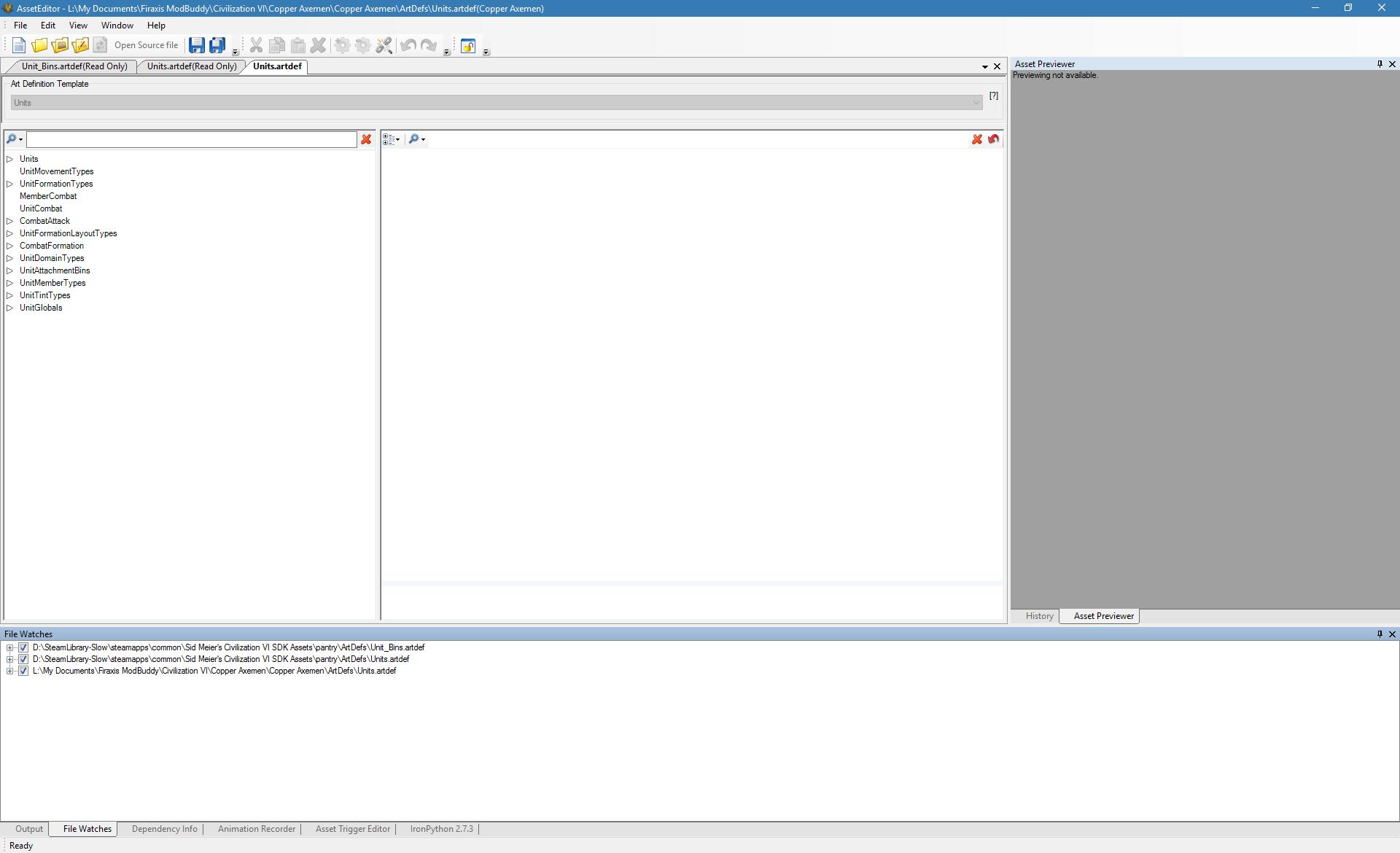 Opening screen Asset Editor